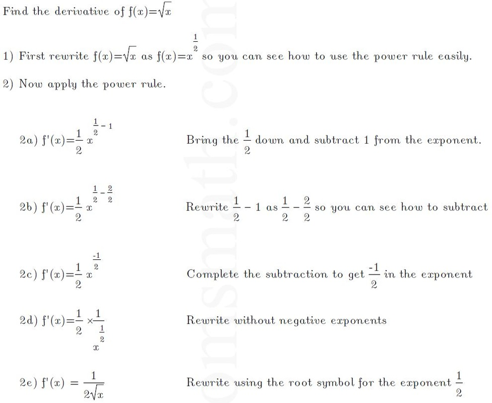 Derivative Of The Square Root Of X  TomsmathCom Expert Math